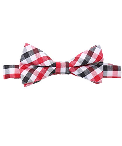 Black And White Gingham Bow (Noah's Boytique Baby Infant Toddler Boy Red Black White Plaid Bow Tie BowTie with Neck Strap Cake Smash Photo Prop)