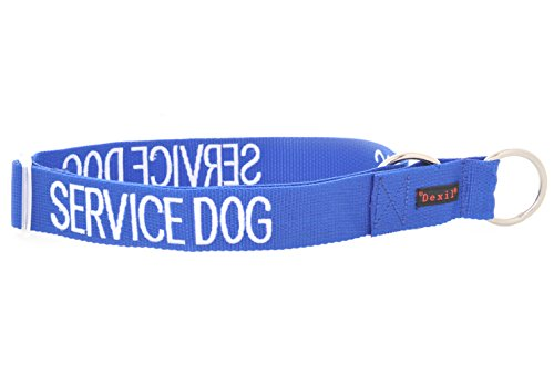 (SERVICE DOG Blue Color Coded L-XL Semi-Choke Dog Collar (Do Not Disturb) PREVENTS Accidents By Warning Others of Your Dog in Advance)