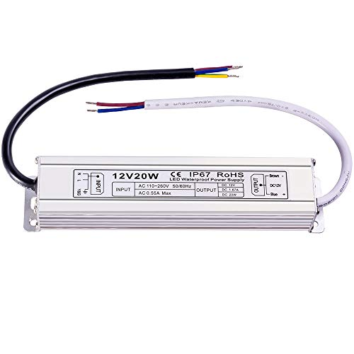 Low Voltage Supply - LED Power Supply Waterproof 20W Low-Voltage Transtormer 12V Driver Adapter IP67 for Outdoor Use