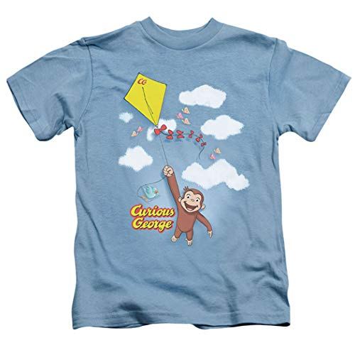 Popfunk Curious George Kite Flying Youth T Shirt & Exclusive Stickers (5/6) Light Blue