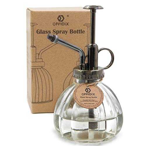 OFFIDIX Transparent Glass Watering Spray Bottle, 6.3