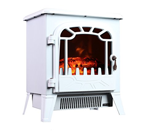 3G Plus Free Standing Electric Fireplace Portable Heater Log Fuel Effect Realistic Flames Mini Stove, 1500W - White