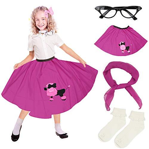 Beelittle 4 Pieces 50s Girls Costume Accessories Set - Vintage Poodle Skirt, Chiffon Scarf, Cat Eye Glasses, Bobby Socks -