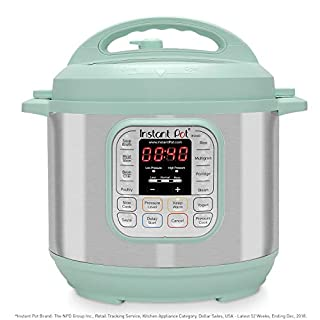 Instant Pot Duo 7-in-1 Electric Pressure Cooker, Slow Cooker, Rice Cooker, Steamer, Saute, Yogurt Maker, and Warmer, 6 Quart, Teal, 14 One-Touch Programs