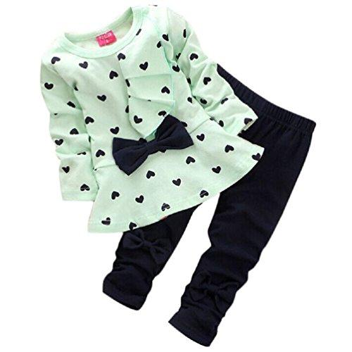 Baby girl Sets CocoMarket 2PCS Heart-shaped Print Bow Cute Kids T shirt + Pants (0-6M, Green)