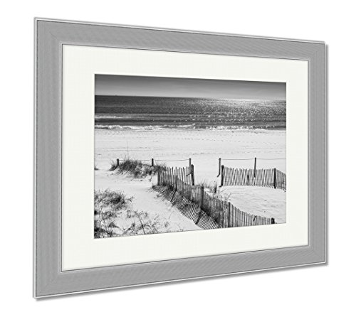 Ashley Framed Prints Panama City Beach, Wall Art Home Decoration, Black/White, 30x35 (frame size), Silver Frame, - Beach City Panama Sands Silver