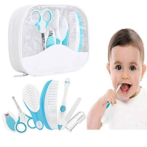 Waxplle 7 Pcs Baby Grooming Care Healthcare Infant Daily Kit,Baby Grooming Kit Including Storage Case,Hair Brush&Toothbrush&Finger Toothbrush&Nail Scissors for Infants,Newborns,Kids (Blue)