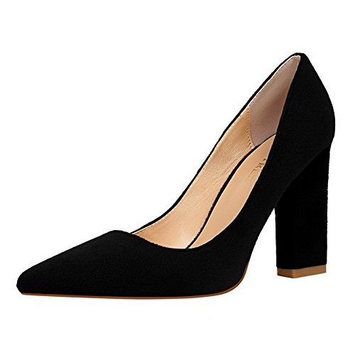 Pull Delle toe Alti Camoscio Tacchi Imitato Pompe shoes on Solidi Weipoot Sottolineato Nero Donne x6q0fwWS1R