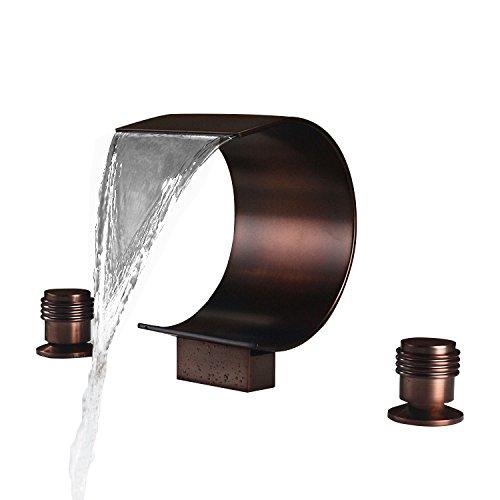 Orb Roman Tub - JinYuZe Modern Waterfall Bathtub Faucet 3-hole Widespread Roman Tub Filler in Oil Rubbed Bronze