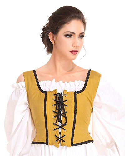 Gold Corset Bodice - Pirate Wench Peasant Renaissance Medieval Costume Corset Bodice [Gold] (X-Large)