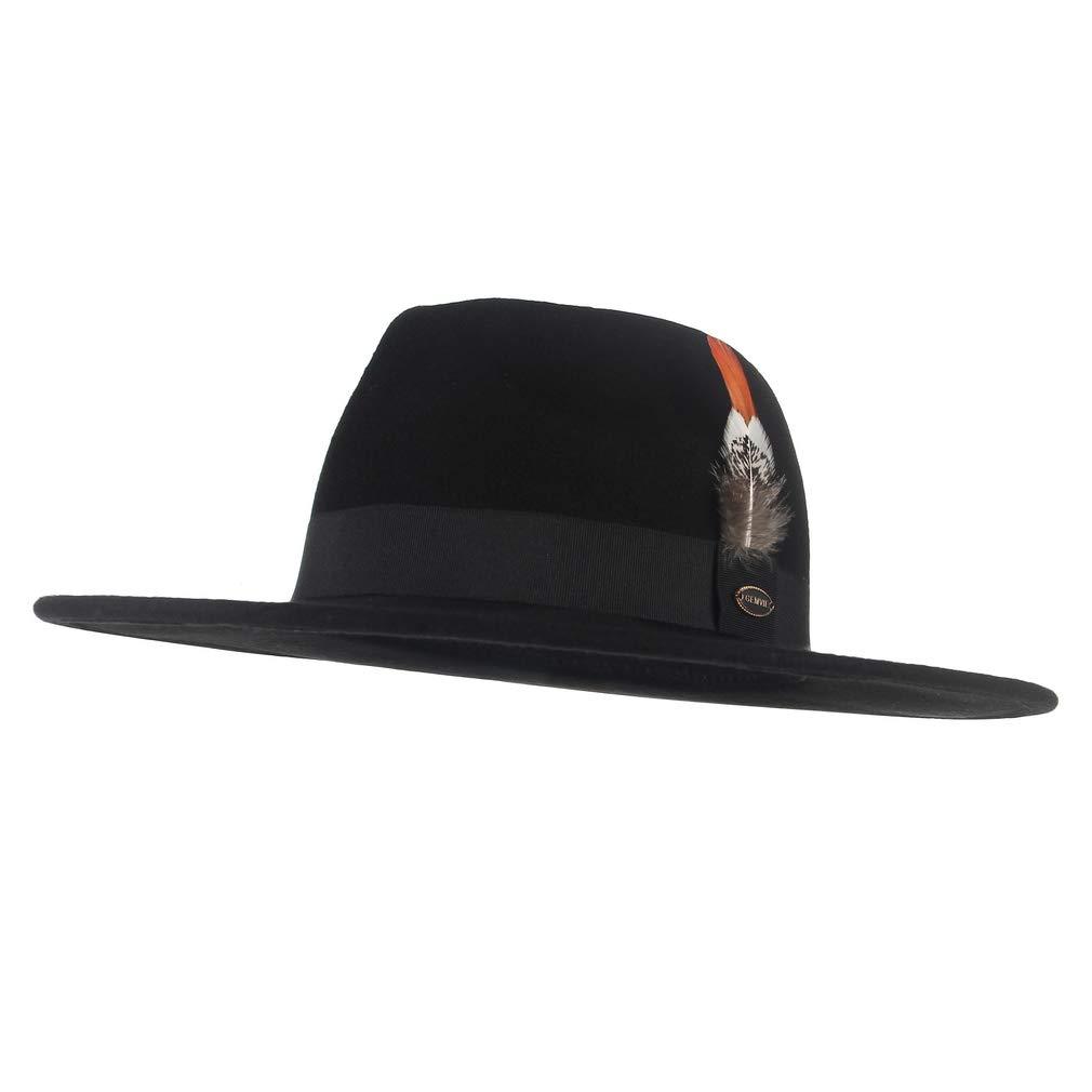 GEMVIE Mens Pure Wool Feather Fedora Hat Wide Brim Panama Fedora Wool Hat Gentleman Hat