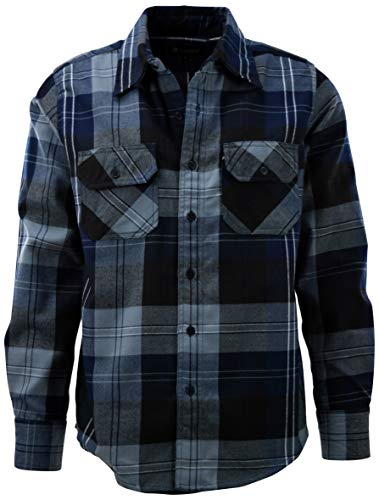 (ChoiceApparel Mens Soft and Durable Button Down Flannel Long Sleeve Shirts (Many Patterns and Colors) (XL, 5-Navy))