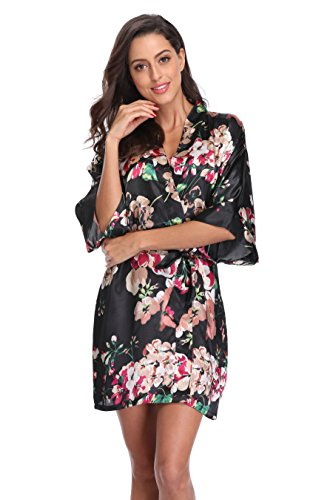 CostumeDeals KimonoDeals Women s dept Satin Bathrobe Floral Short Kimono  Robe for Bridesmaid Wedding Party 5298fcb9f