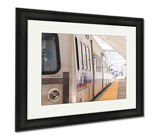 Ashley Framed Prints Commuter Train, Modern Room Accent Piece, Color, 34x40 (frame size), Black Frame, - Denver Shops International Airport