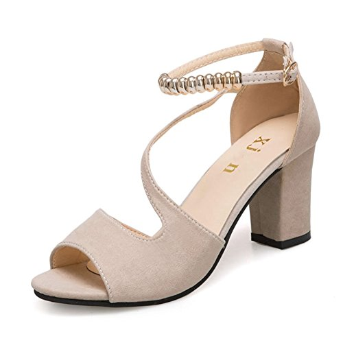 Wedding Chunky Women Heel Comfy Sandals Shoes Beige Dress Toe Peep Beaded String JULY T Ankle Pumps on Strap Slip HvwqxZ4Xfn