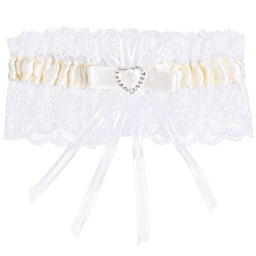 Ivory Satin Garter - Freebily Women's Bridal Sweet Lace Heart Satin Bridal Garters Wedding Garters Cream One Size