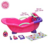 JC Toys for Keeps! Baby Doll Bathtub and Accessories with Real Working Shower Fits Most Dolls Up to 17'