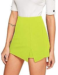 WDIRARA - Falda asimétrica para Mujer con Ribete de Contraste, Cintura Media y Nudo Lateral, Verde, XS