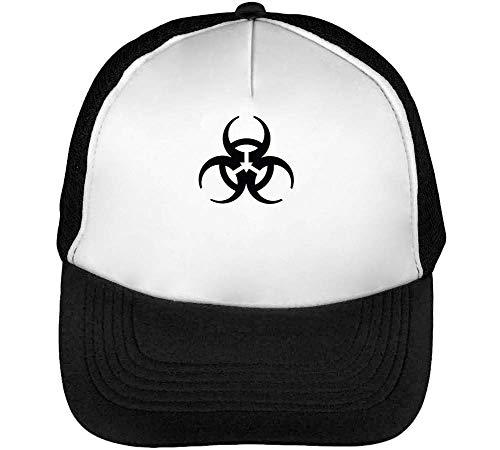 Snapback Beisbol Negro Gorras Hombre Blanco Biohazard Logo RnxZ1Xt
