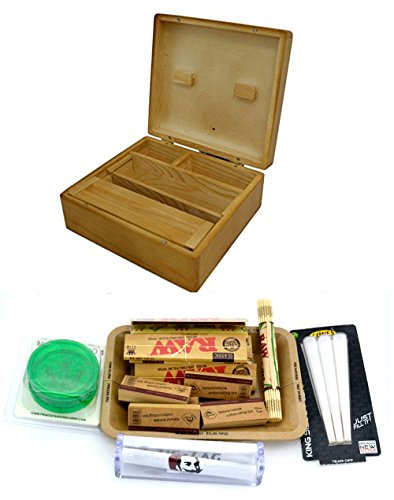 Shine Grassleaf Wooden Rolling Box With Raw Tray Gift Set