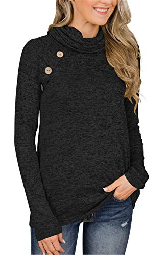 Unidear Womens Autumn Sweatershirt Pullover,Womens Casual Cowl Neck Cable Knit Sweater with Button #1 Black S