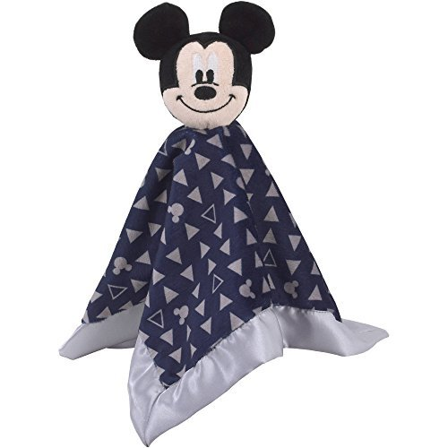 Disney Baby - Mickey Mouse Lovey Security Blanket (12.5 in X 12.5) - Comfort Baby Disney-style. Plush Mickey Head with Rattle, Attached to a Navy Patterned Blanket.