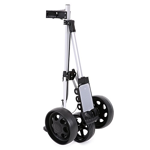 TOMSHOO 3 Wheels Golf Push Cart Foldable Aluminum Pull Cart Trolley with Footbrake System by TOMSHOO (Image #4)