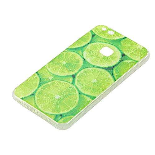 Erdong® Funda de Silicona TPU para Huawei P10 Lite 5.2, Carcasa Transparente Soft Clear Case Cover Funda Blanda Flexible Carcasa Delgado Ligero Caja Anti Rasguños Anti Choque con Diseño Creativo para limón