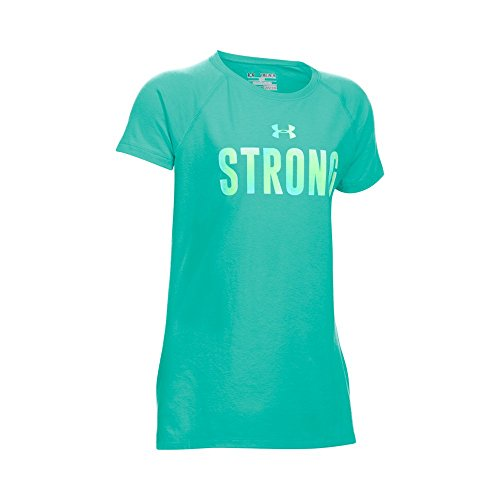 Under Armour Girls' Strong Girl Short Sleeve T-Shirt, Mosaic/Opal Blue, Youth Small