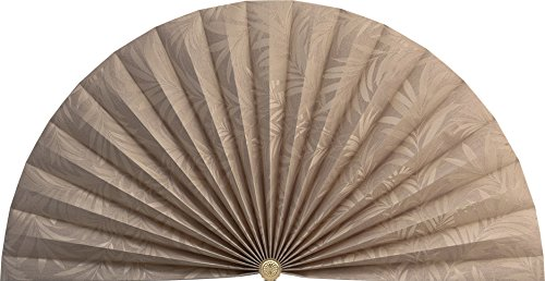 Neat Pleats Decorative Fan, Hearth Screen, or Overdoor Wall Hanging - L491 - Light Gold Taupe with Japanese-styled Bamboo Leaf Leaves