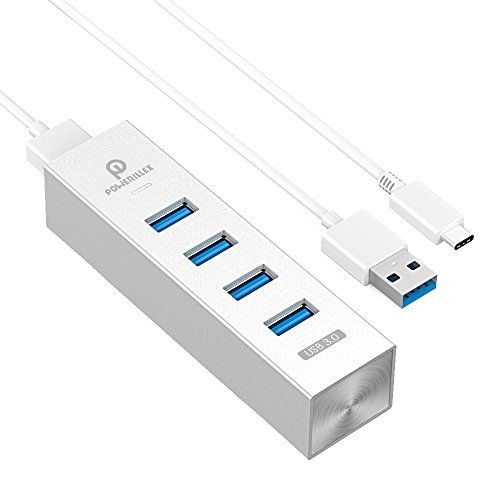 USB 3.0 Hub, Aluminum 4-Port Hub for New Macbook, ChromeBook and More Laptops and PCs, with 2 USB Cables (Type C To A and Type A To - Hub Pr