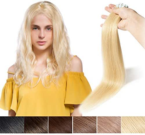 100% Remy Tape in Human Hair Extension 22'' Bonding Double Sided Tape Professional Long Thick Straight Seamless Skin Weft Hair 20Pcs/30g (Bleach Blonde #613) + 10pcs Free Tapes