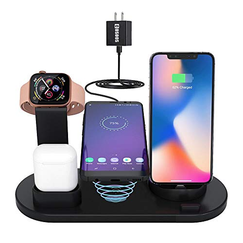 Wireless Charger,COSOOS 4in1 Wireless Charging Station for Apple Products,iWatch,Airpods 2/1,Charging Dock Compatible with iPhone Xs MAX/XS/XR/ 8/8 Plus/ 7/ 6S/ SE/ 5S/ 5C,Samsung(No Watch Charger) from COSOOS
