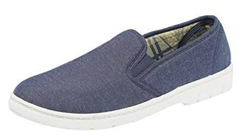Summer Pumps Mens Boys Summer Canvas Deck Shoes. Elasticated Gussets 6 UK  Navy