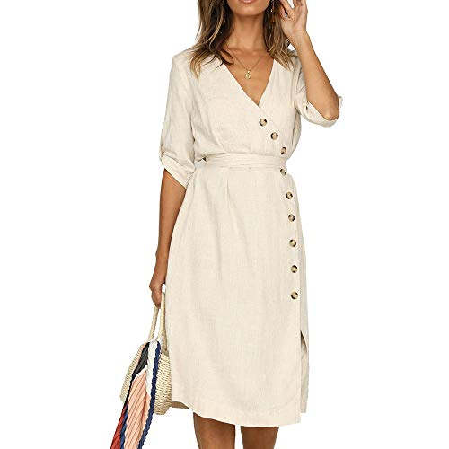 Neck Button Summer Maxi Junxiang V Ruffles Short Striped Waist Casual Dress Sleeve Women's White Party High Long Y6xz6qB