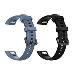 (2-Pack) Replacement Bands for Huawei Honor 4, Classic Silicone Replacement Accessory Soft Water-Proof Straps Comfortable Wristband Compatible with Huawei Honor 4 Activity Tracker (Black&Grey)