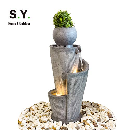 - S.Y. Water Fountain Cascading Resin-Rock Tabletop Fountain, Indoor Oudoor Waterfall Feature with LED Lights & Pump Decorative Fountain for Stress Relief, 38 x 19 x 18 inches