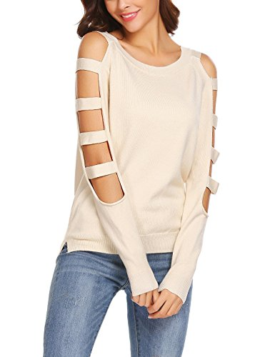 SoTeer Women's Scoop Neck Cut Shoulder Warm Loose Long Sleeve Sweater Pullover Tops Beige XL