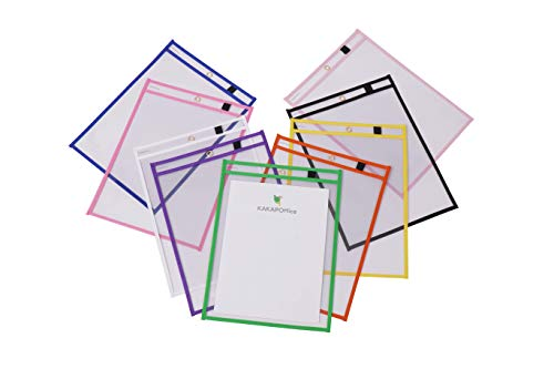 Clear Reusable Dry Erase Pockets: Plastic Protector Sleeves for Paper Worksheets, Artwork or Office Documents - School Organization and Teacher Supplies for Classroom or Office - 10 Pack, Multicolored
