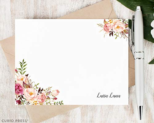 PAINTED FLORALS I - Personalized Flat Floral Stationery/Stationary Note Card Set