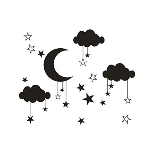 YJYdada DIY Large Moon Star Wall Decals Children