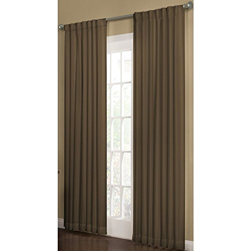 Allen   Roth Beeston 95 In L Solid Espresso Thermal Back Tab Window Curtain Panel