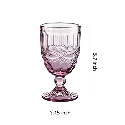 Coloured Water Goblet Vintage-inspired Pattern Glass Wedding Goblet