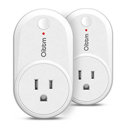 Oittm Wifi Smart Light Plug Wireless Timing Switch Outlet Compatible with Alexa and Google Assistant, No Hub Required, Wifi/4G/3G/2G Enabled, App Control from Anywhere (2-pack)