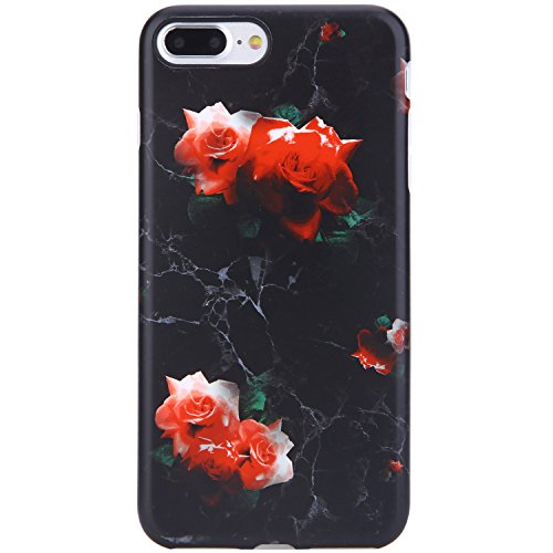 (iPhone 7 Plus Case Black Marble and Red Rose,iPhone 8 Plus Case,VIVIBIN Shock Absorption Matte TPU Soft Rubber Silicone Cover Phone Case for iPhone 7 Plus/8 Plus 5.5inch)