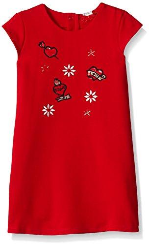 GUESS Little Girls' Short Sleeve Patch Dress, Red Hot, 4 -