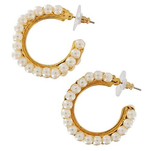 Thick Gold Tone Double Row Bead Faux Pearl Hoop Pierced Earrings 1 1/8
