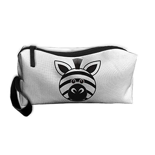 Cosmetic Bags With Zipper Makeup Bag Funny Zebra Face Middle Wallet Hangbag Wristlet Holder -