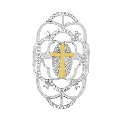nia Floral Filigree Design Cross Ring for Women in Two Tone Plated 925 Sterling Silver (Size 9) ()