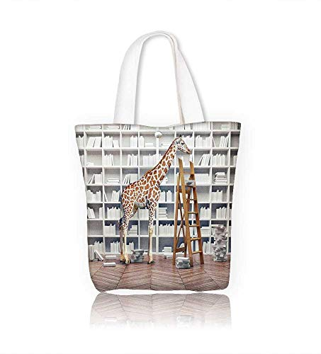 (Canvas Tote Bags an giraffe baby in the with book shelves creative photo combination concept Design Your Own Party Favor Pack Tote Canvas W22xH15.7xD7)